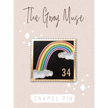 The Gray Muse RAINBOW POSTAGE STAMP BLACK Enamel Pin tgm-a19-p53
