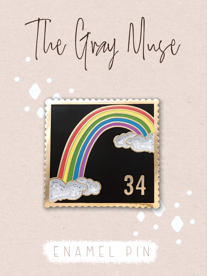 The Gray Muse RAINBOW POSTAGE STAMP BLACK Enamel Pin tgm-a19-p53 zoom image