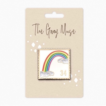 The Gray Muse RAINBOW POSTAGE STAMP WHITE Enamel Pin tgm-a19-p54