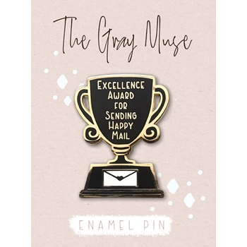 The Gray Muse EXCELLENCE AWARD FOR SENDING HAPPY MAIL Enamel Pin tgm-a19-p56
