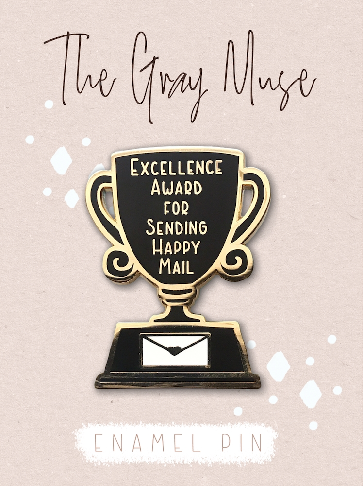 The Gray Muse EXCELLENCE AWARD FOR SENDING HAPPY MAIL Enamel Pin tgm-a19-p56 zoom image