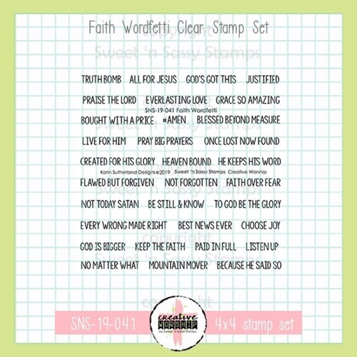 Sweet 'N Sassy FAITH WORDFETTI Clear Stamp Set sns-19-041 Preview Image