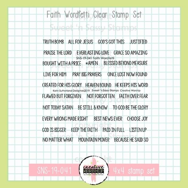 Sweet 'N Sassy FAITH WORDFETTI Clear Stamp Set sns-19-041 zoom image