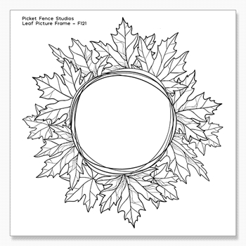 Picket Fence Studios LEAF PICTURE FRAME Clear Stamp f121