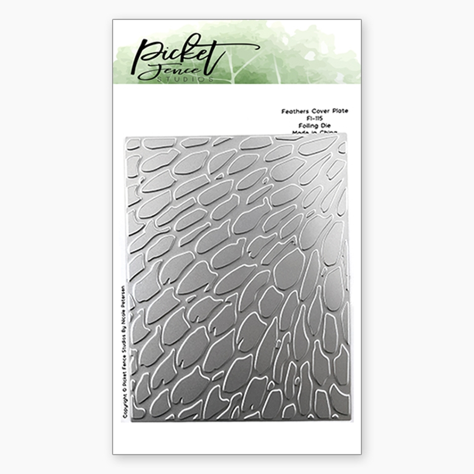 Picket Fence Studios FEATHERS COVER PLATE Foiled Impressions Die fi115 zoom image
