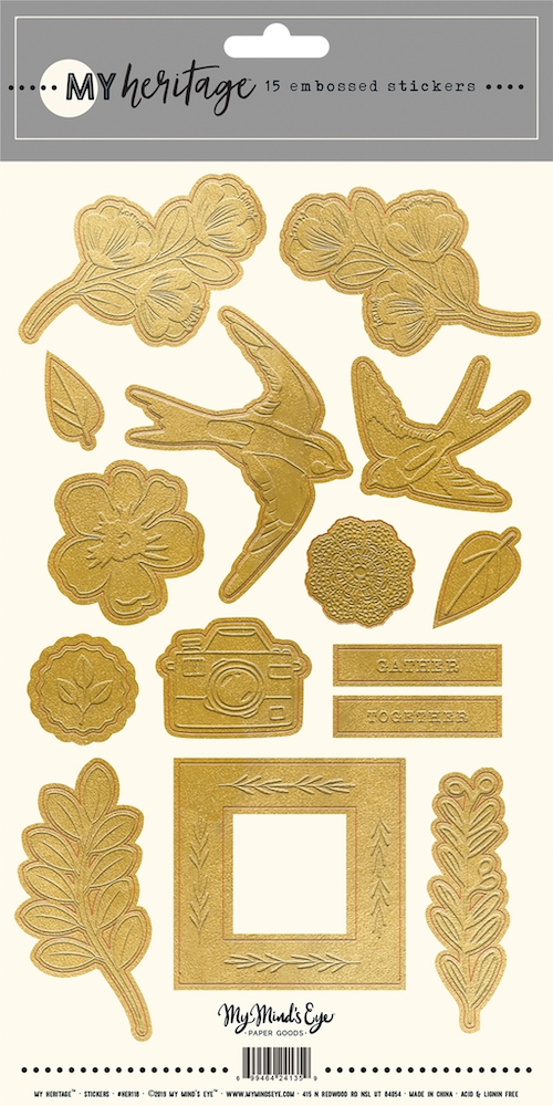 My Mind's Eye MY HERITAGE Gold Embossed Stickers her118 zoom image