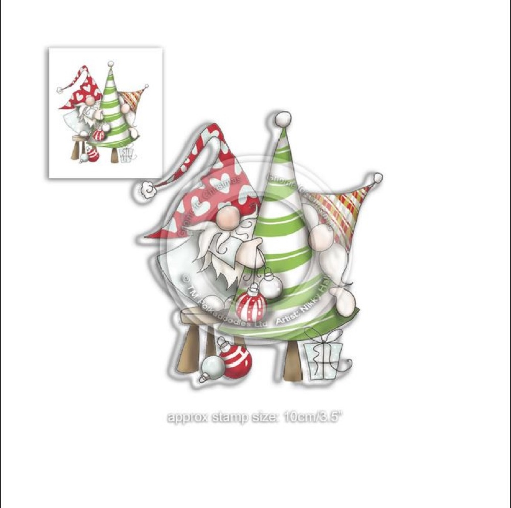 Polkadoodles GNOME DECORATING THE TREE Clear Stamp pd7950 zoom image