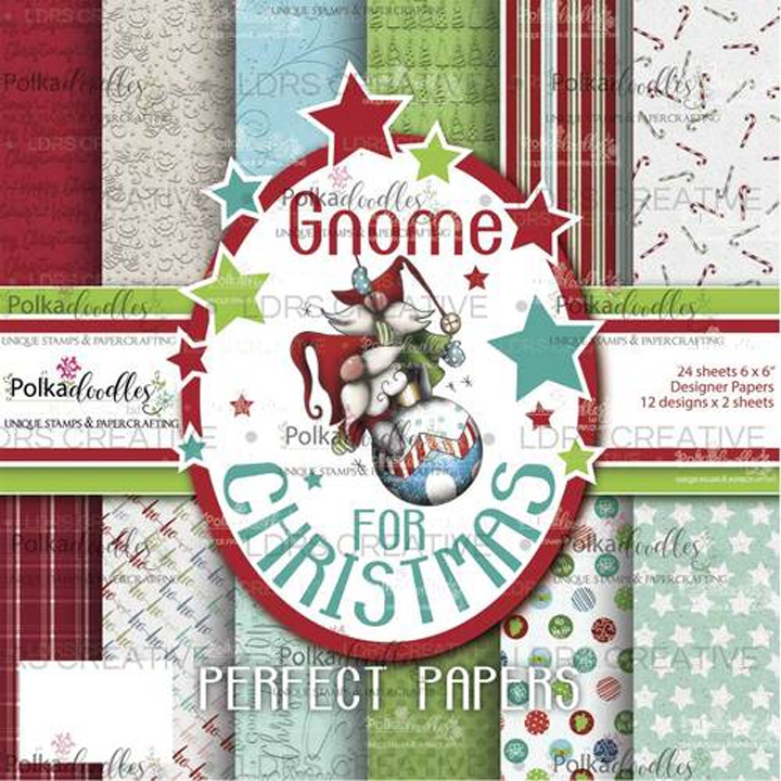 Polkadoodles GNOME FOR CHRISTMAS 6x6 Paper Pack pd193 zoom image