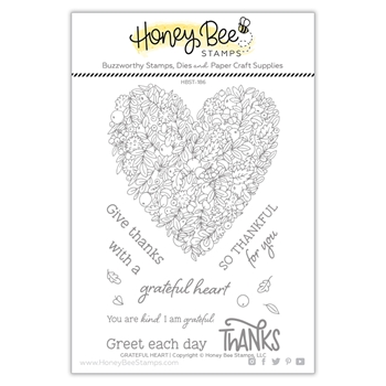 Honey Bee GRATEFUL HEART Clear Stamp Set hbst-186