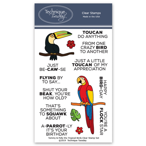 Technique Tuesday TOMMY AND POLLY THE TROPICAL BIRDS Clear Stamps 02796 Preview Image