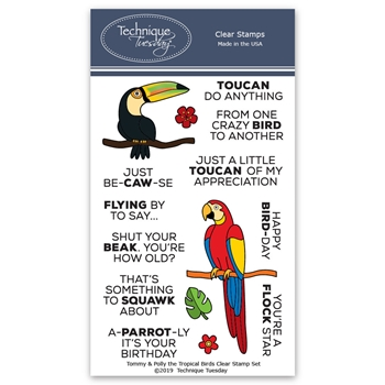 Technique Tuesday TOMMY AND POLLY THE TROPICAL BIRDS Clear Stamps 02796