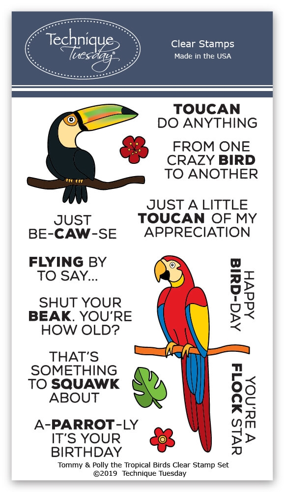 Technique Tuesday TOMMY AND POLLY THE TROPICAL BIRDS Clear Stamps 02796 zoom image