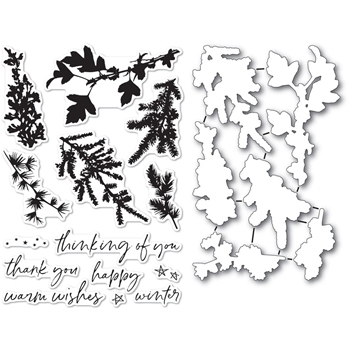 Memory Box WINTER GREENERY Clear Stamp and Die Set cl5235d