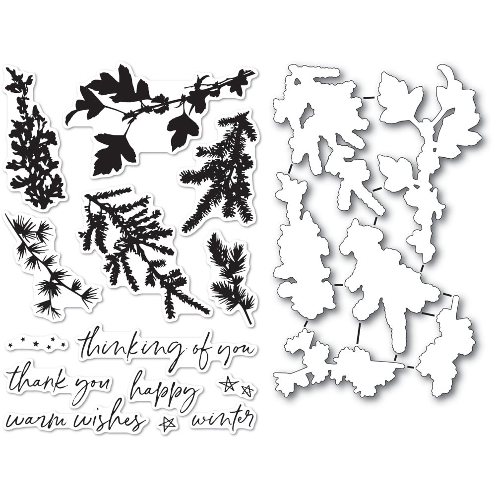 Memory Box WINTER GREENERY Clear Stamp and Die Set cl5235d zoom image