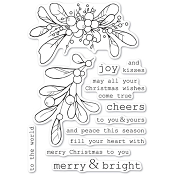 Memory Box Clear Stamps MERRY AND BRIGHT MISTLETOE cl5246