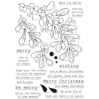 Memory Box Clear Stamps MISTLETOE SWAG cl5247