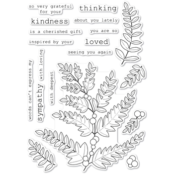 Memory Box Clear Stamps FERN AND BERRIES cl5249