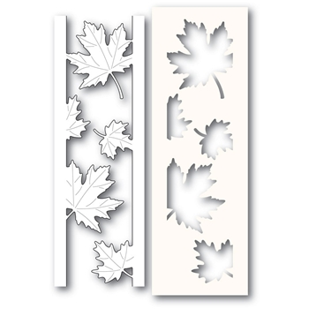 Poppy Stamps MAPLE LEAF SIDE STRIPS Craft Die and Stencil 2236
