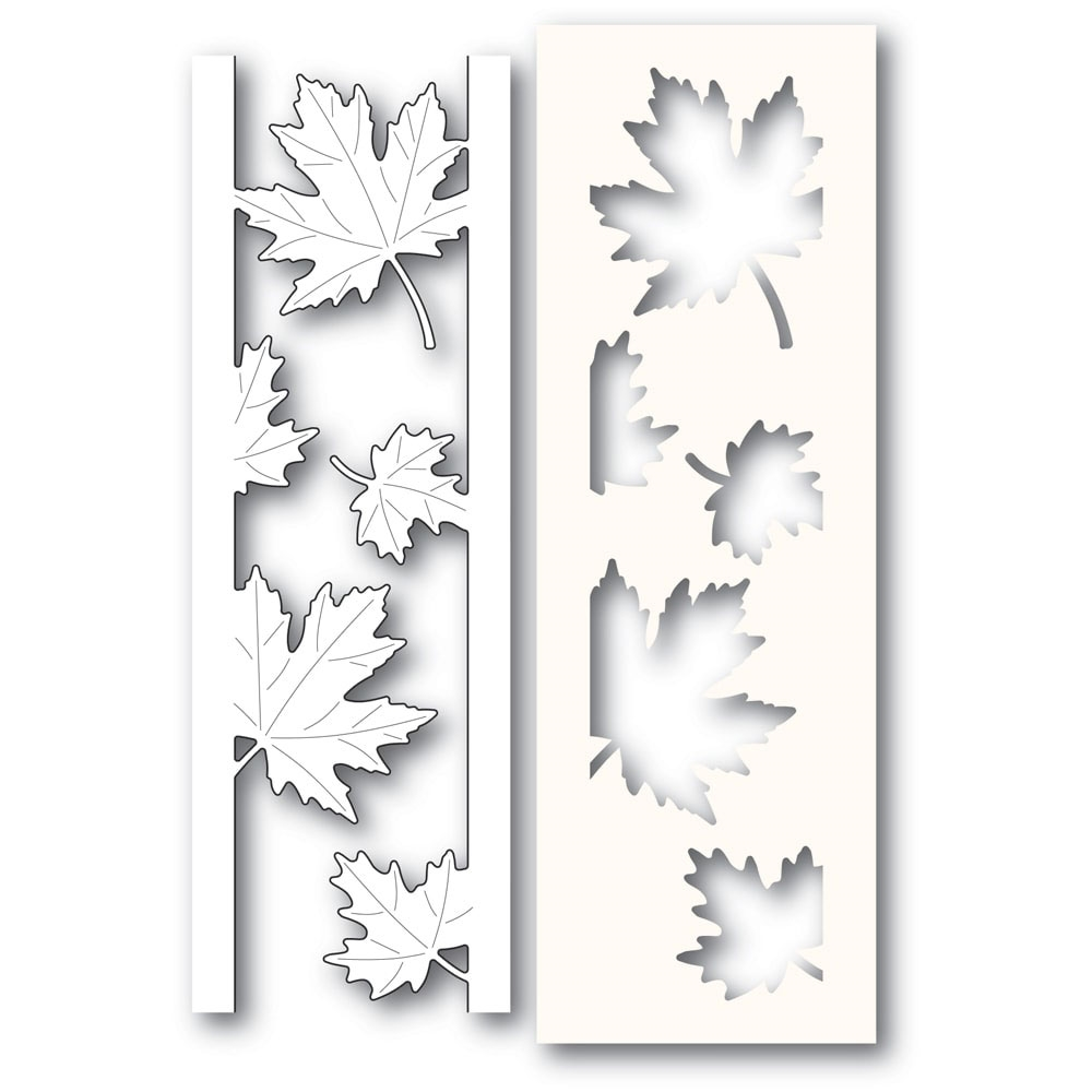Poppy Stamps MAPLE LEAF SIDE STRIPS Craft Die and Stencil 2236 zoom image