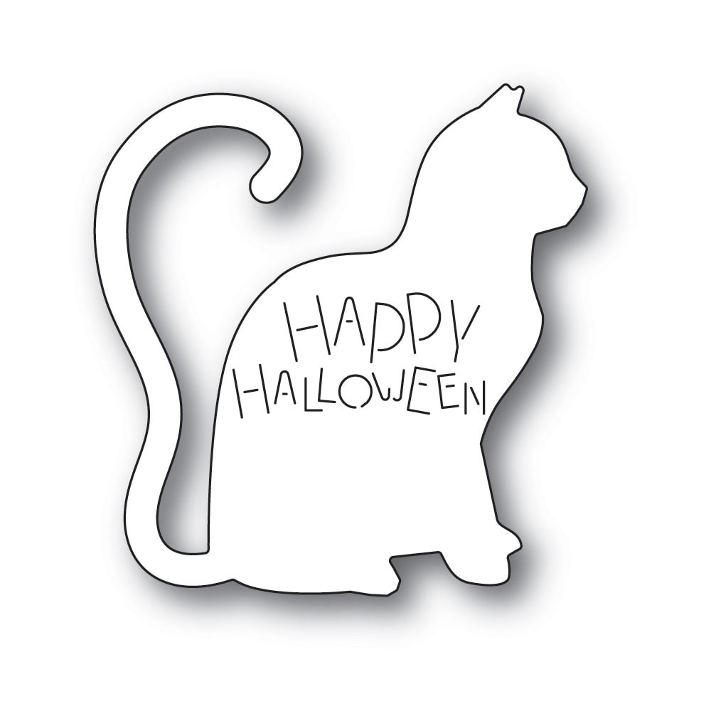 Poppy Stamps HAPPY HALLOWEEN CAT Craft Die 2237 zoom image