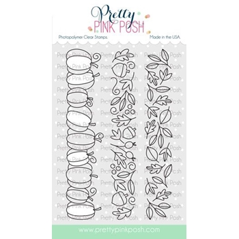Pretty Pink Posh FALL BORDERS Clear Stamps