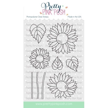 Pretty Pink Posh SUNFLOWERS Clear Stamps