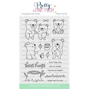 Pretty Pink Posh BEAR FRIENDS Clear Stamps