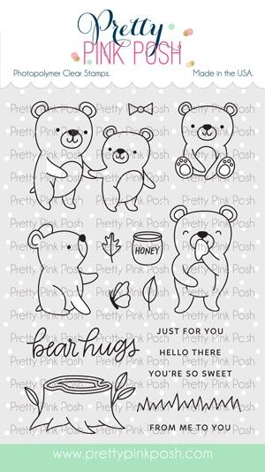 Pretty Pink Posh BEAR FRIENDS Clear Stamps zoom image