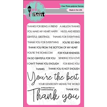 Pink and Main GRATEFUL GREETINGS Clear Stamps PM0359