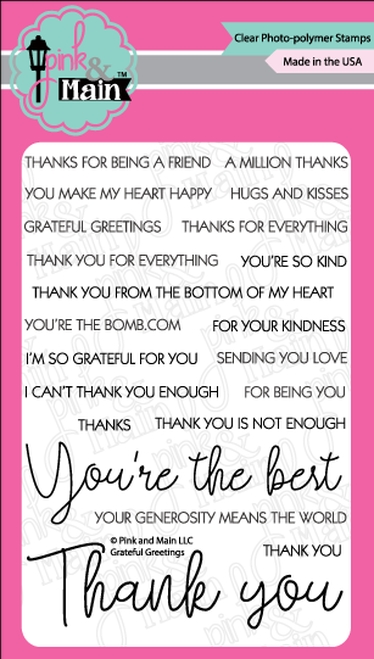 Pink and Main GRATEFUL GREETINGS Clear Stamps PM0359 zoom image