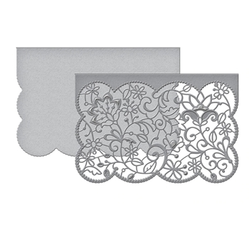 S5-402 Spellbinders CANDLEWICK LACE CARD FRONT Etched Dies