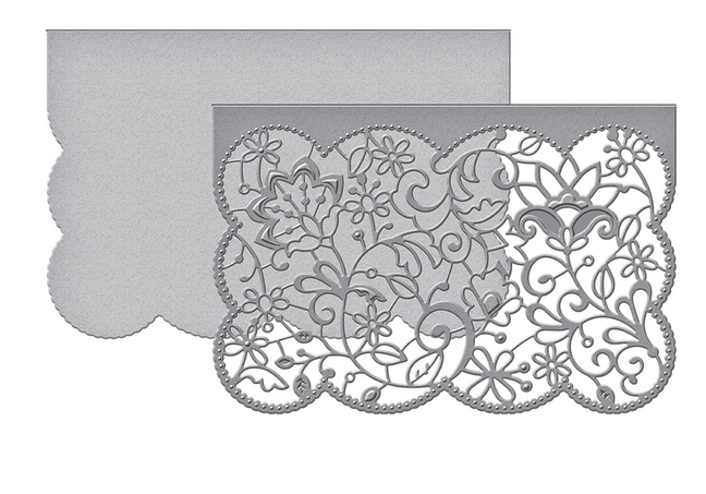 S5-402 Spellbinders CANDLEWICK LACE CARD FRONT Etched Dies  zoom image