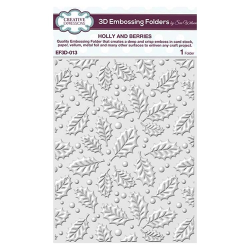 Creative Expressions HOLLY AND BERRIES 3D Embossing Folder by Sue Wilson ef3d013 Preview Image
