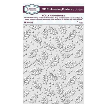 Creative Expressions HOLLY AND BERRIES 3D Embossing Folder by Sue Wilson ef3d013