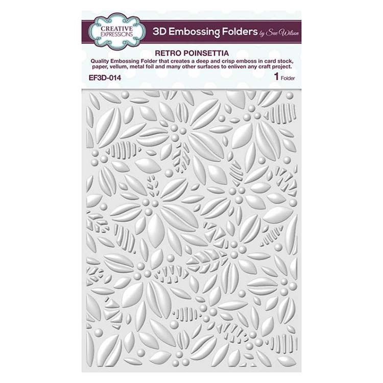 Creative Expressions RETRO POINSETTIA 3D Embossing Folder by Sue Wilson ef3d014 zoom image