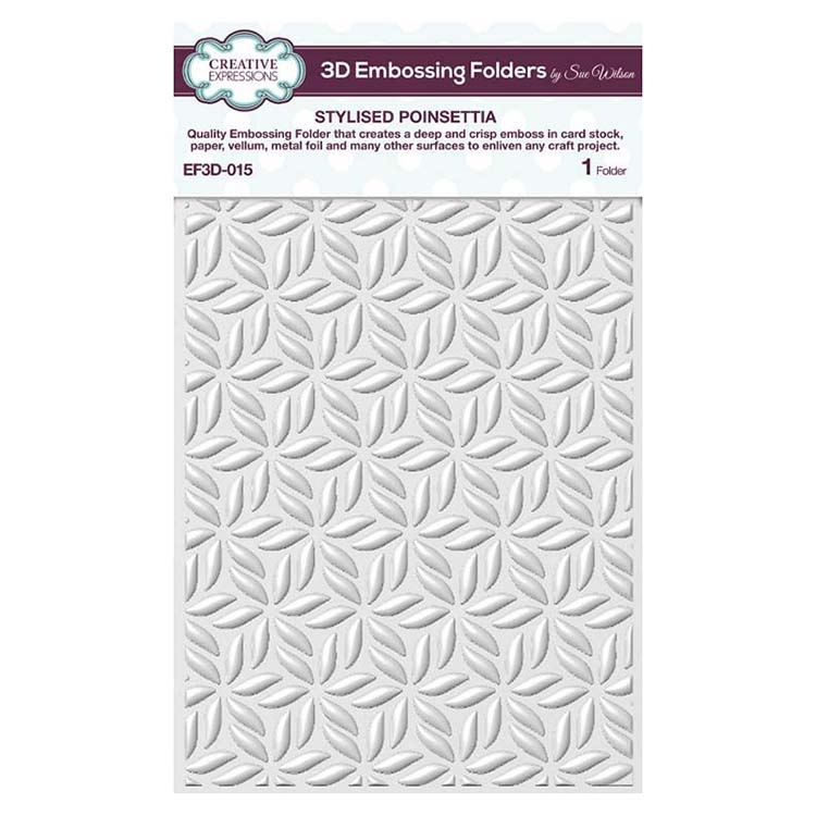 Creative Expressions STYLISED POINSETTIA 3D Embossing Folder by Sue Wilson ef3d015 zoom image