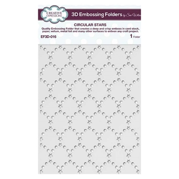 Creative Expressions CIRCULAR STARS 3D Embossing Folder by Sue Wilson ef3d016