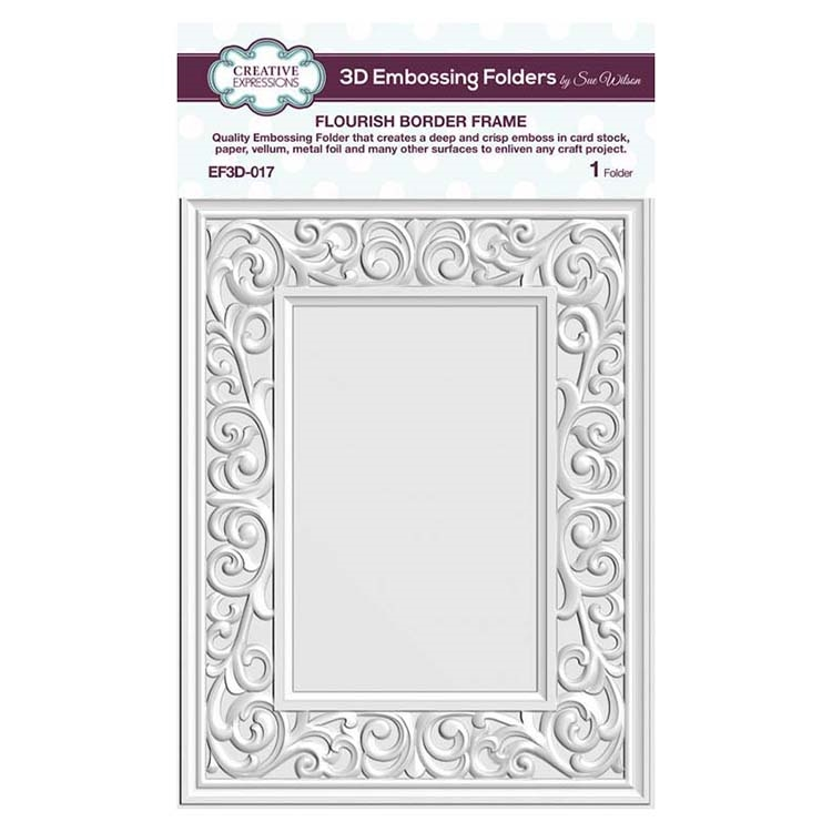 Creative Expressions FLOURISH BORDER FRAME 3D Embossing Folder by Sue Wilson ef3d017 zoom image