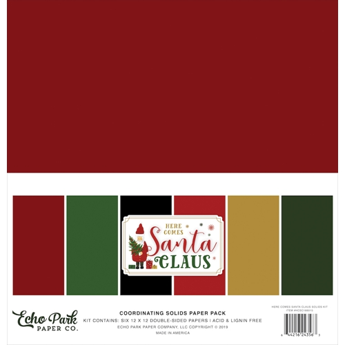 Echo Park HERE COMES SANTA CLAUS 12 x 12 Double Sided Solids Paper Pack hcsc188015 Preview Image