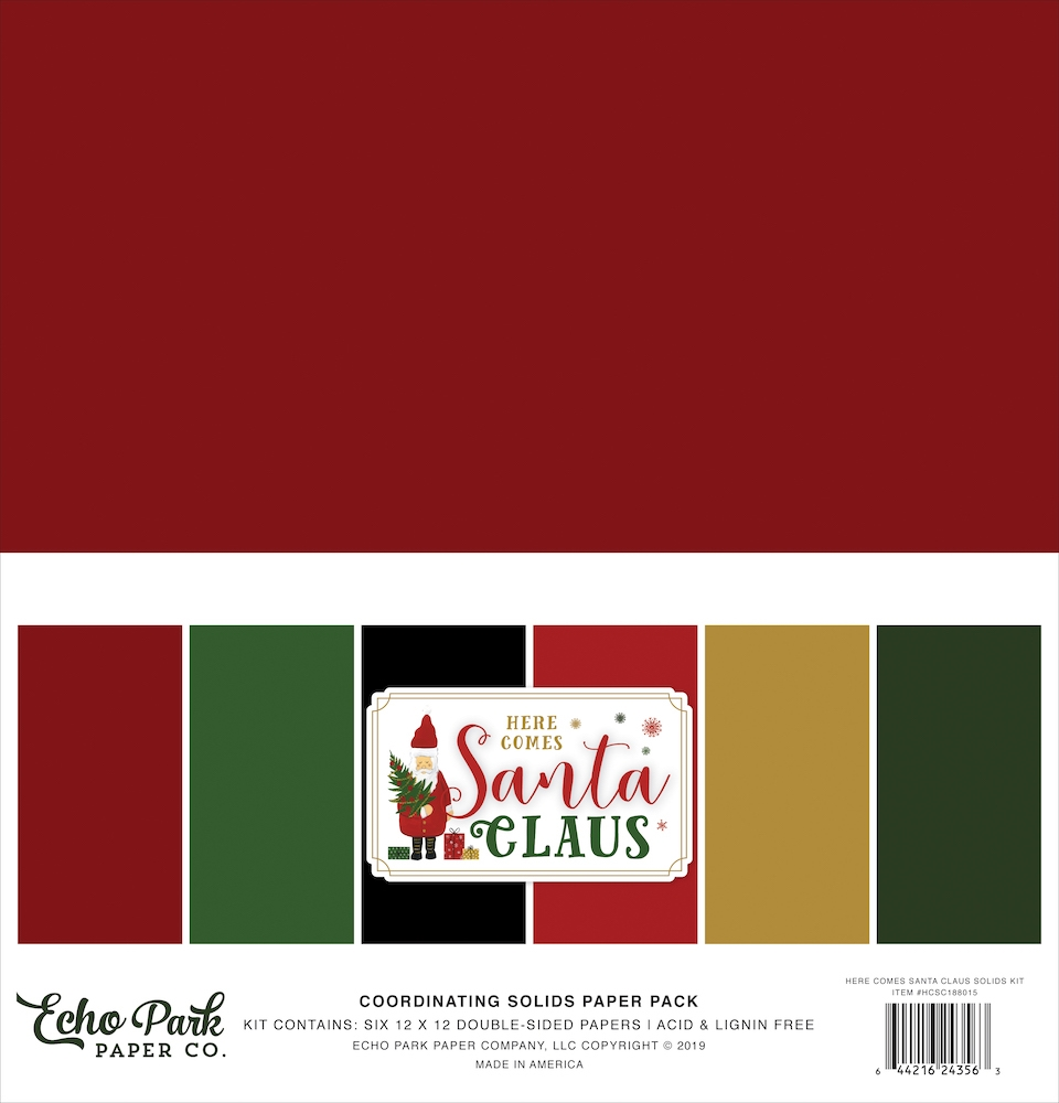 Echo Park HERE COMES SANTA CLAUS 12 x 12 Double Sided Solids Paper Pack hcsc188015 zoom image