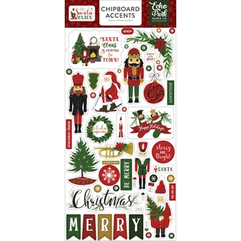 Echo Park HERE COMES SANTA CLAUS Chipboard Accents hcsc188021