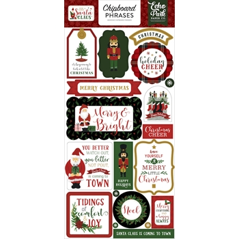 Echo Park HERE COMES SANTA CLAUS Chipboard Phrases hcsc188022