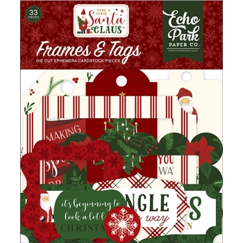 Echo Park HERE COMES SANTA CLAUS Ephemera Frames And Tags hcsc188025