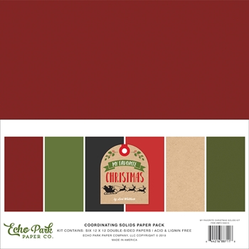 Echo Park MY FAVORITE CHRISTMAS 12 x 12 Double Sided Solids Paper Pack mfc190015