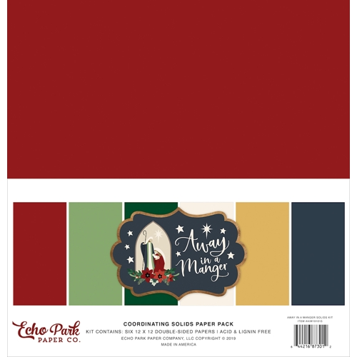 Echo Park AWAY IN A MANGER 12 x 12 Double Sided Solids Paper Pack aim191015 Preview Image