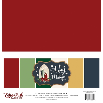Echo Park AWAY IN A MANGER 12 x 12 Double Sided Solids Paper Pack aim191015