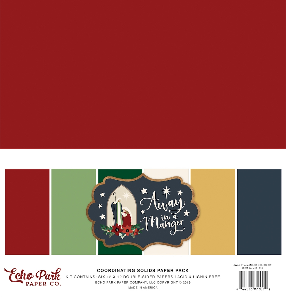 Echo Park AWAY IN A MANGER 12 x 12 Double Sided Solids Paper Pack aim191015 zoom image