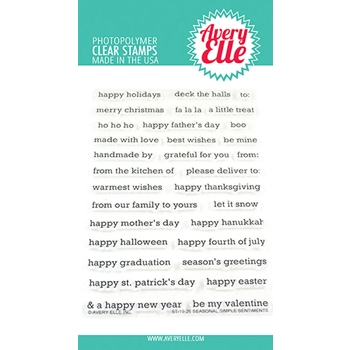 Avery Elle Clear Stamps SEASONAL SIMPLE SENTIMENTS ST-19-26
