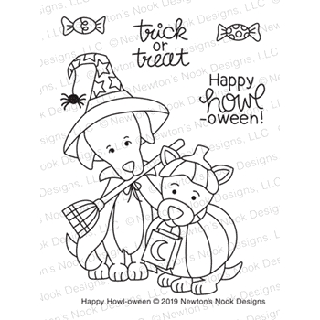 Newton's Nook Designs HAPPY HOWL-OWEEN Clear Stamps NN1908S05