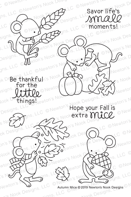 Newton's Nook Designs AUTUMN MICE Clear Stamps NN1908S01 zoom image